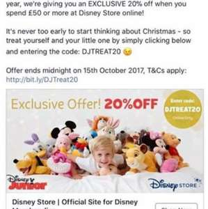 20% of all non sale or special offer items totalling over £50 at Disney Store ONLINE ONLY until 15th October - see t&c in comments below