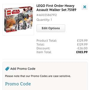 LEGO First Order Heavy Assault Walker 75189 down to £103.99 with code @ Disney Shop Online