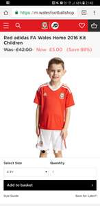 Wales 2016 football kit ages 2-4 - £5 @ JD Sports Wales Football Shop (Free C&C)