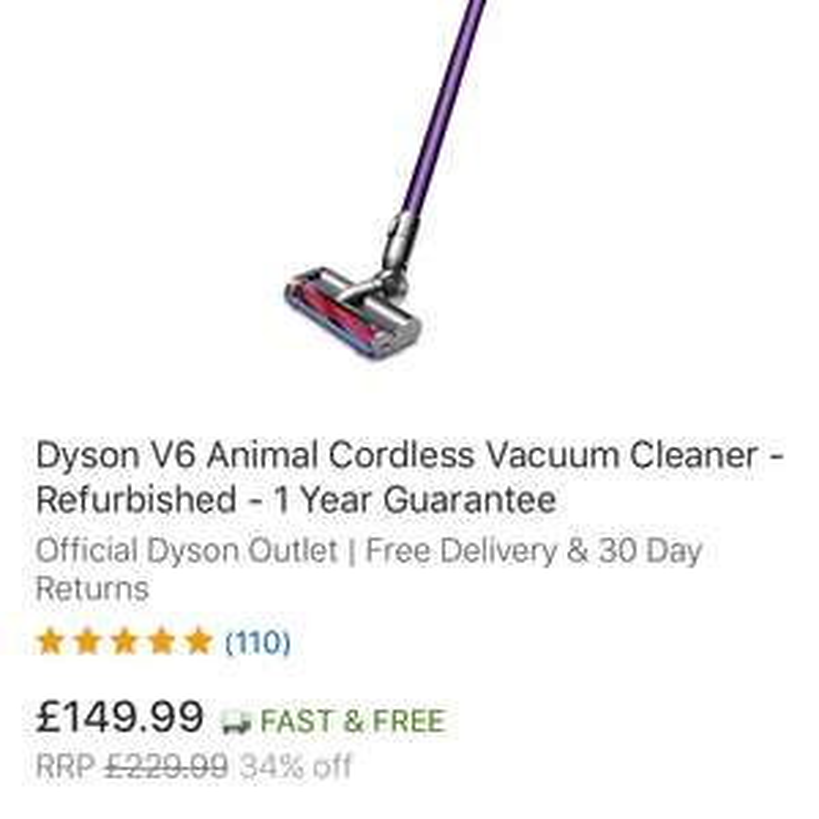 Dyson v6 animal refurbished - £149.99 Delivered @ Dyson eBay Store