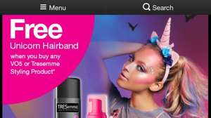 Unicorn hairband with travel Tresemme hairspray 100ml - 92p @ Superdrug (Free C&C)