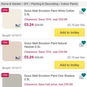 Various dulux paint 2.5l £5.24 - 75% off at  Ocado