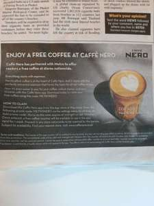 Free hot drink at Caffè Nero