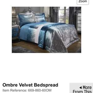 Velvet bed sets including pillow - £4.49, duvet set £9.99 and bedspread £9.99 (+£4.99 P&P) @ Studio