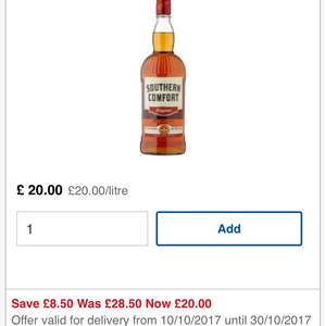 It's back! Southern Comfort £20 Litre was £28.50  @ Tesco