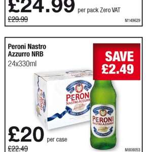 24 x 330ml bottles of peroni -  £24 (£1 a bottle) at Makro