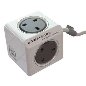 Allocacoc PowerCube - 4 Power Socket + 2 USB Ports - 3M - Grey £14.75 at MyMemory