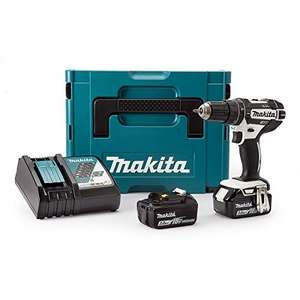 Amazon - Makita DHP482RFWJ Combi Drill (Black and White Edition) 18 V with 2 x 3.0 Ah Batts and DC18RC Charger in a MakPac Case £157 @ Amazon