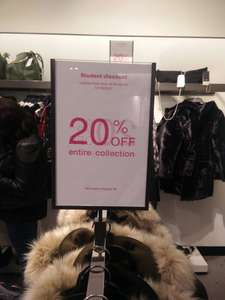 20% off everything today @ Zara if student at Birmingham