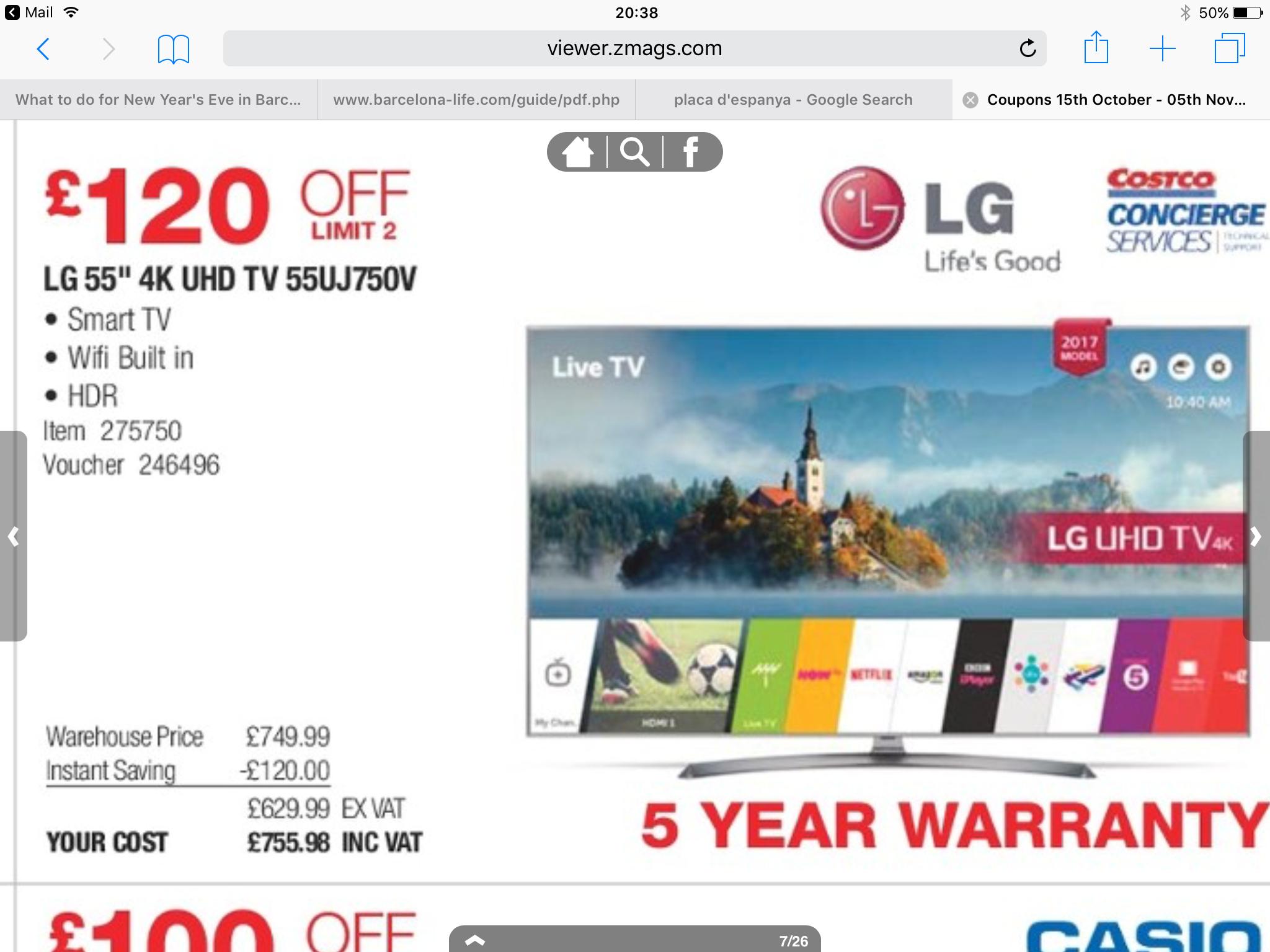 LG 55UJ750V TV - £756 @ Costco (instore)