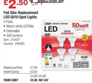 Feit 50W replacement LED GU10 warm white dimmable spot light (4 packs) @ Costco warehouse
