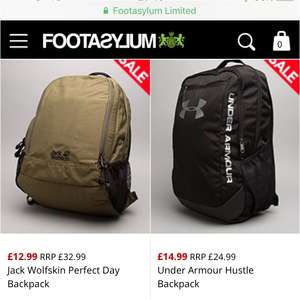 Backpack sale at Footasylum, free c&c or £3.95 delivery
