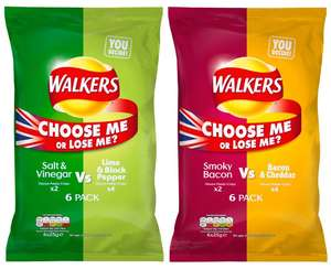 "Walkers Crisps - 6 Pack of ""Choose Me or Lose Me?"" Multiple Flavours - 50p - Tesco instore"