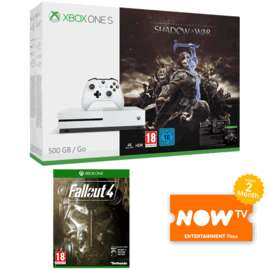 Xbox one s 500GB, Shadow of War, Fallout 4, 2 months NOW TV @ GAME - £229.99