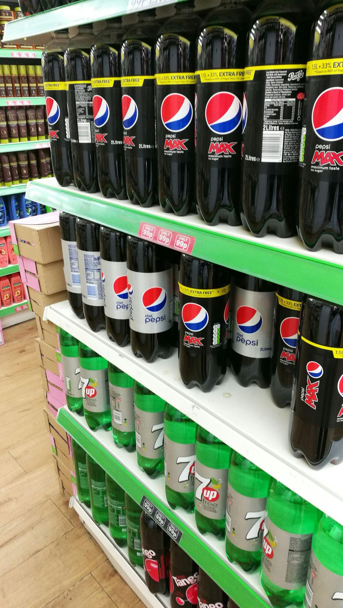 Sams 99p store. 2 litres of Pepsi 99p.