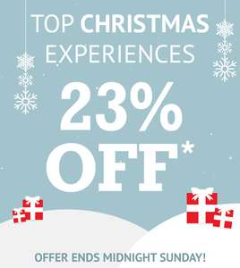 Extra 23% off up to 50% savings on top christmas experiences at Buyagift- e.g. 2 night hotel stay was £199.98 then £99 NOW £76.23 after code