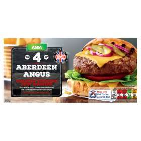 ASDA 4 Aberdeen Angus Quarter Pounder Beef Burgers In Hunts Cross reduced from £3 to £1.
