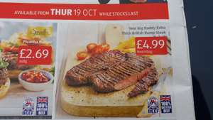 16oz Big Daddy Extra Thick British Rump Steak from Thursday 19th October @ Aldi