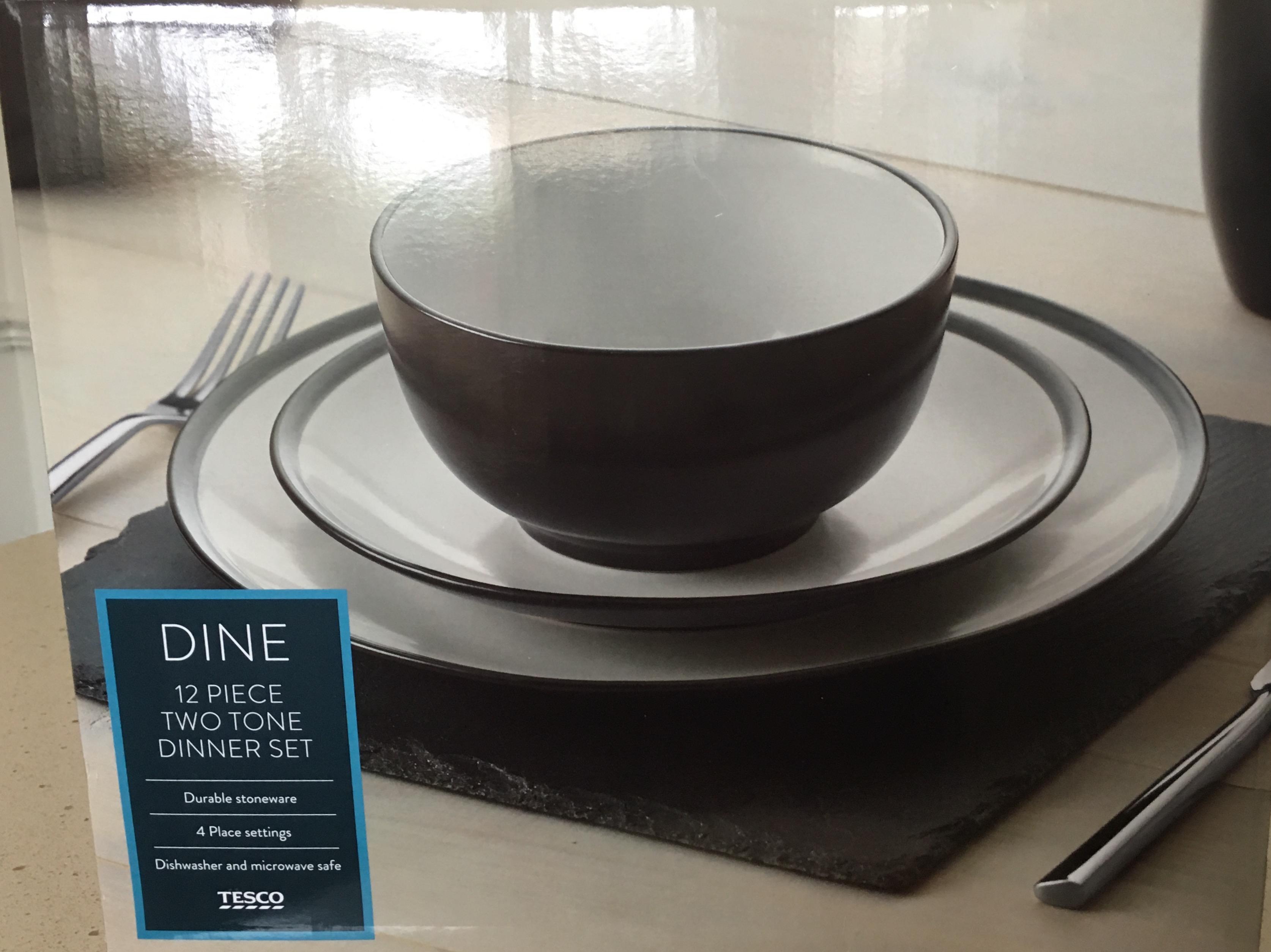 Tesco 12 piece two tone stoneware dinner set - £5 in Aldershot store