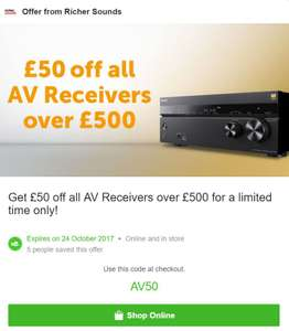 £50 off all AV receivers over £500 at Richer Sounds
