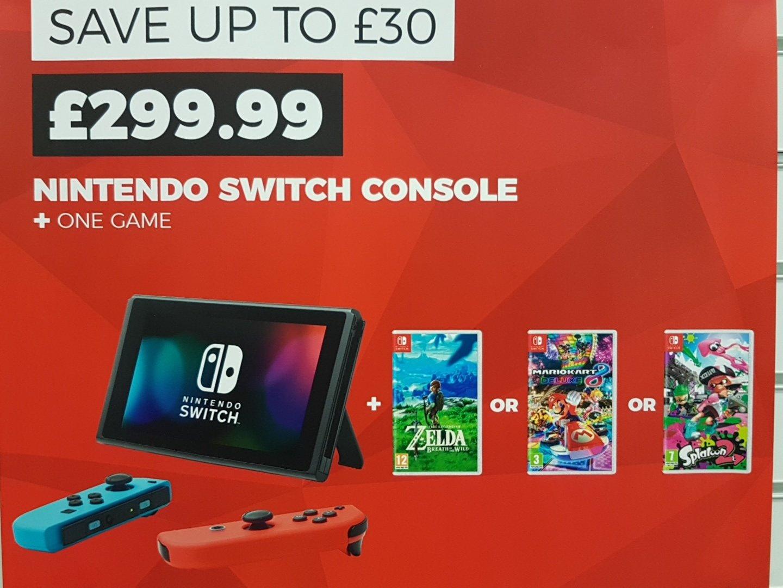 Nintendo Switch with Zelda OR Mario Kart 8 OR Splatoon 2 @ GAME instore for £299.99