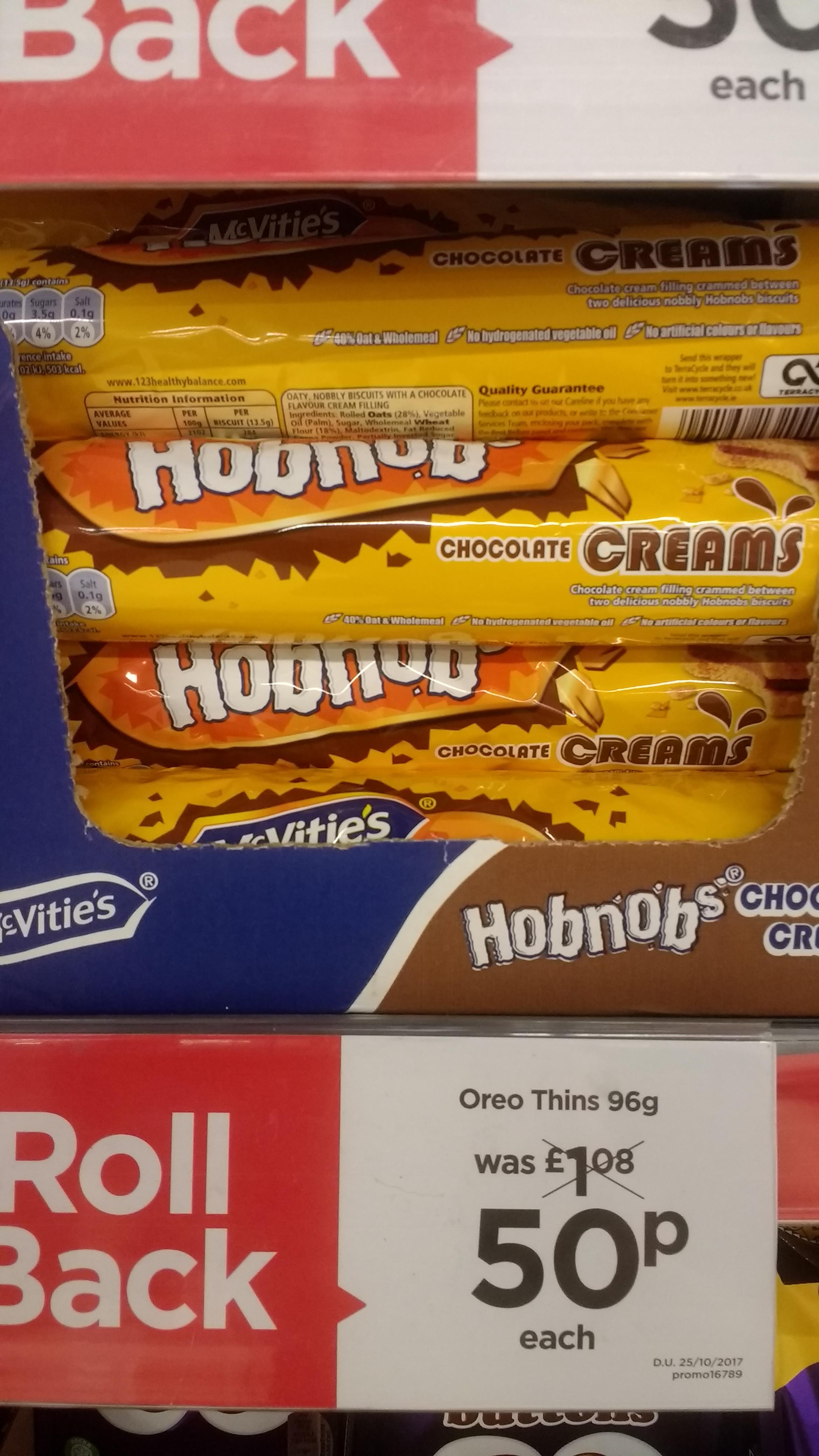 McVitie's Hobnobs Chocolate Cream Biscuits 200gr 50p @ Asda