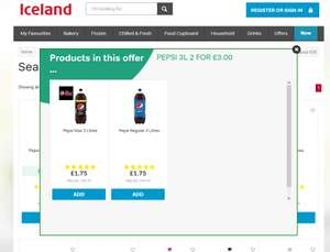Pepsi and Pepsi max 2 x 3L for £3.00 @ Iceland