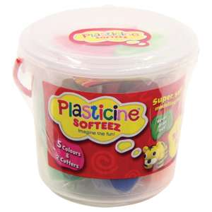 Plasticine Softeez - Tub Of Fun (5 Colours + 4 Cutters) £2.50 delivered @ The Works
