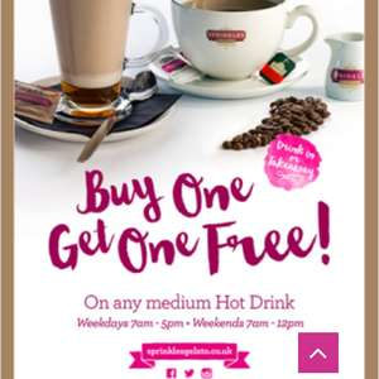 Buy one get one free on medium hot drinks @ Sprinkles Gelato