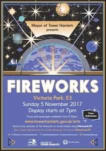 free fireworks display in victoria park, tower hamlets 0 november 5th, 2017