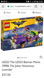 Lego 70906 Joker low-rider @ John Lewis £27.50 + £2 c+c (or free c+c if you spend £30)