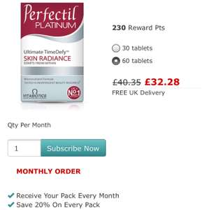 Vitabiotics perfectil platinum save 20% when subscribing - £32.28