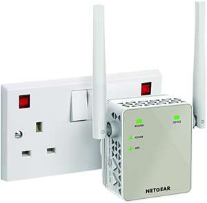 16% off NETGEAR 11AC 1200 Mbps (300 Mbps + 900 Mbps) Dual Band Wi-Fi Range Extender with External Antennas (Wi-Fi Booster) (EX6120-100UKS)  £37.99 @ Amazon