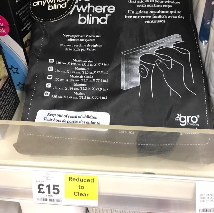 Gro Anywhere blind, black out blind for babies £15 @ Tesco instore