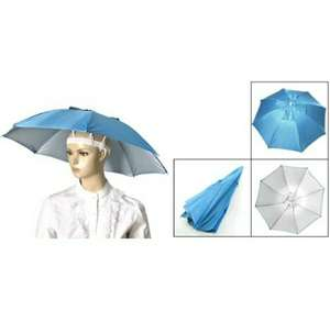 (Sky Blue Polyester) Folding Umbrella Hat with Adjustable Headband £2.02 @ Aliexpress