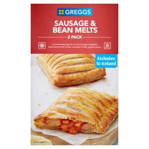 Greggs 2 Sausage & Bean Melts (308g) was £1.60 now £1.00 @ Iceland