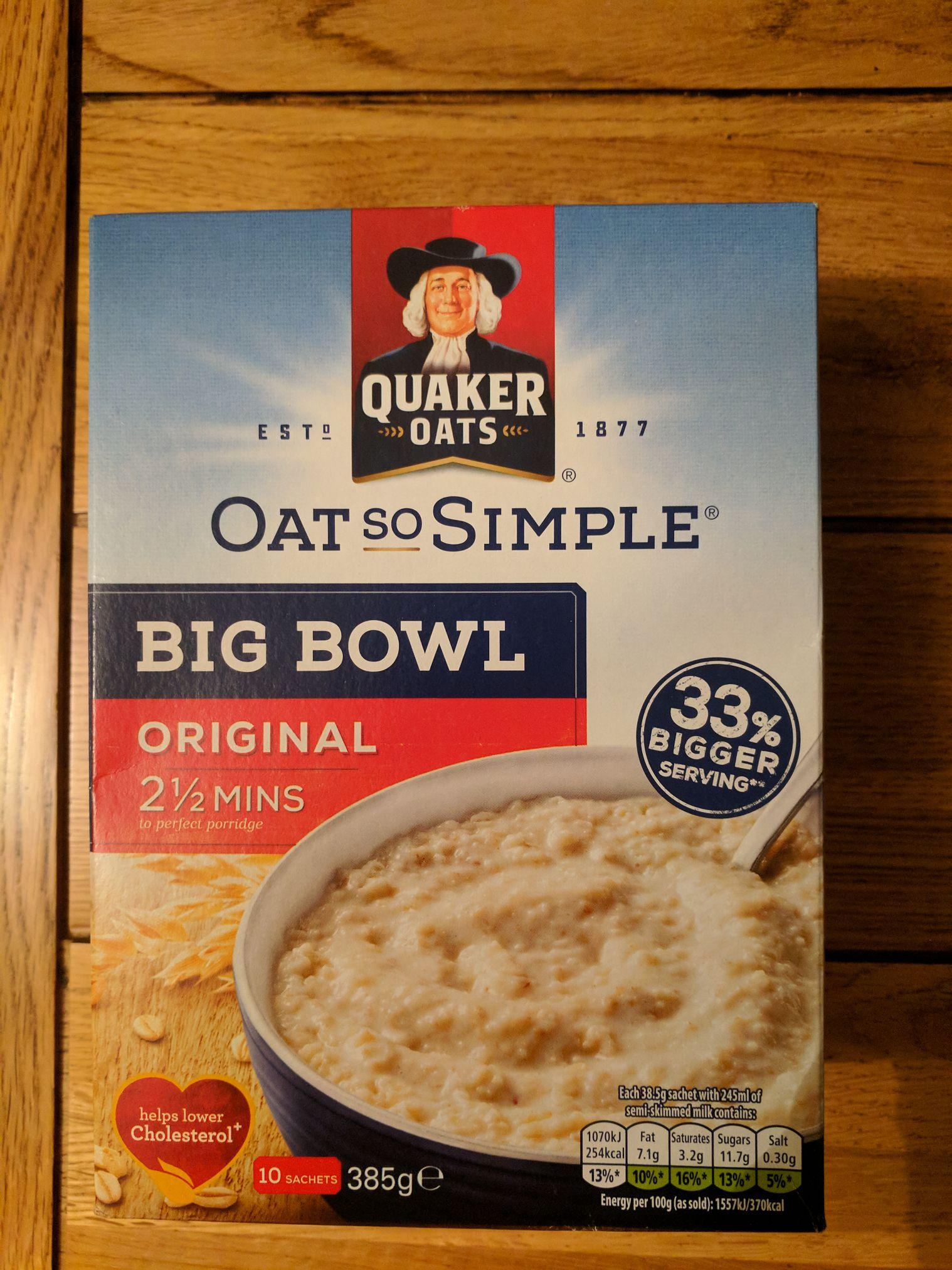 Quaker Oats So Simple Big Bowl 10 sachets £1 @ Poundland.