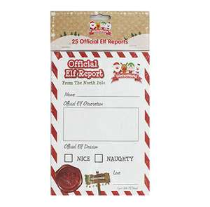 Official Elf Reports (to go with your Elf on the Shelf) 25 pack just £1.00 C&C at The Works