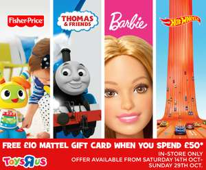 Free £10 Mattel Gift Card When You Spend £50 or More In-Store / FREE £10 Giftcard on £100 spend Online & Instore / £5 off a £30 spend online @ Toys R Us