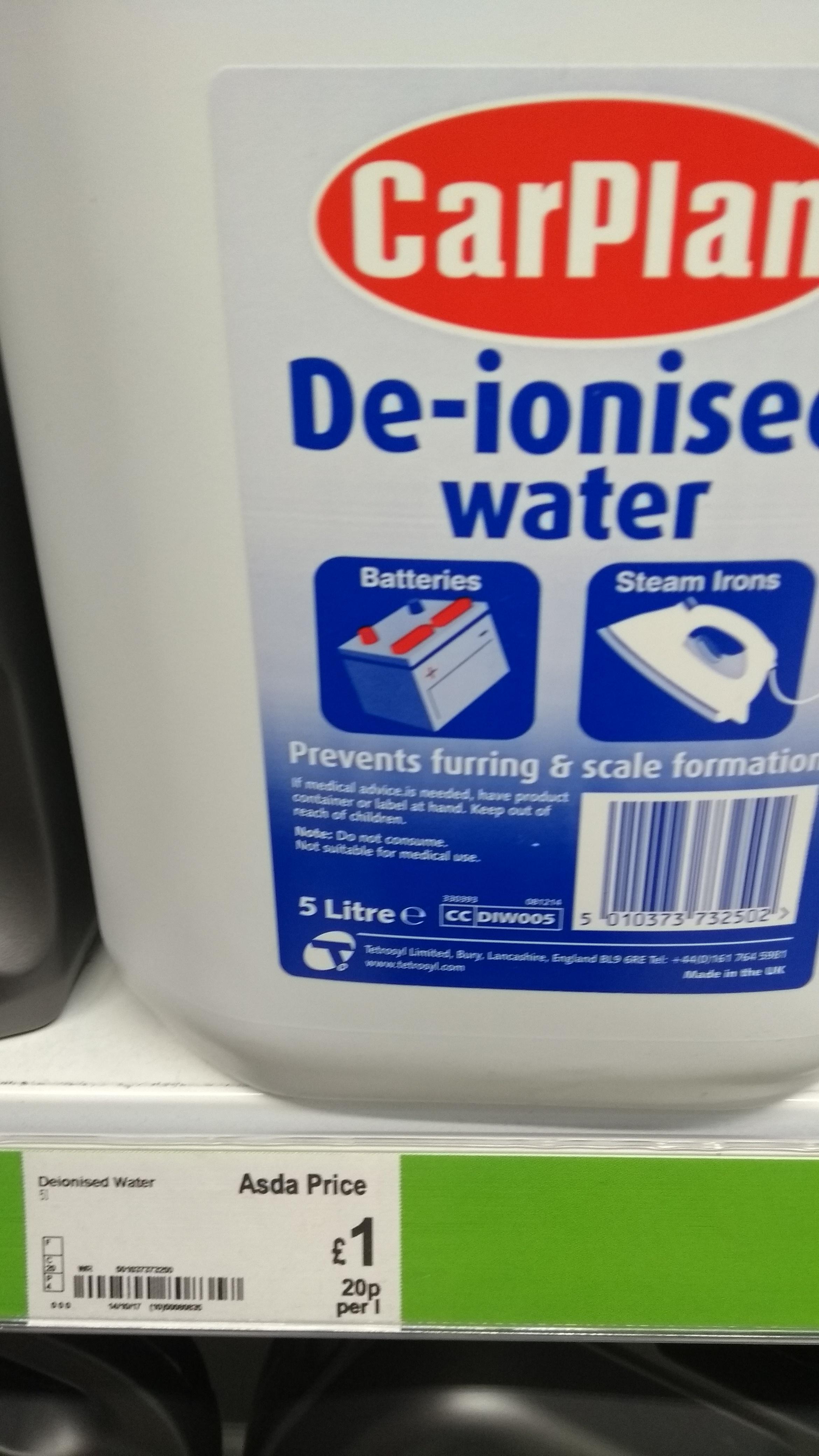 5Lt Car Plan De-Ionised Water £1.00 @ Asda ( Instore)