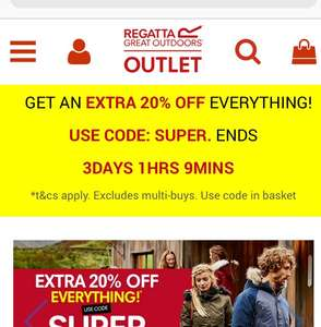 regattaoutlet.co.uk Extra 20% off for three days
