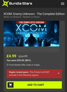 XCOM: Enemy Unknown - The Complete Edition (Includes - XCOM: Enemy Within) £4.99 (Edit: £4.40 @ GamersGate) - Bundlestars - Also XCOM 2 @ £11.54