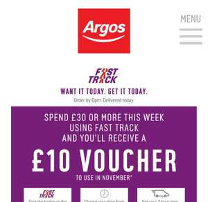 Spend £30 receive £10 voucher code possibly account specific worth a check - Argos