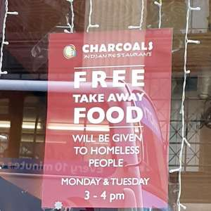 Free food for the Homeless @ Charcoals (Glasgow)