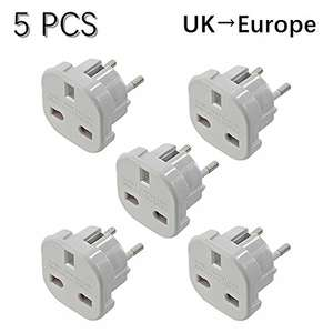 x5 uk > eu travel adapters £5.40 (Prime) £9.39 (Non Prime) @ Amazon prime Sold by EMY LIMITED and Fulfilled by Amazon.