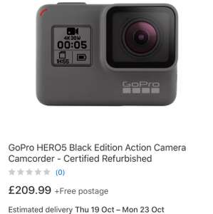 GoPro  Hero5 black refurbished £209.99 - ebay /  gopro_certified_uk