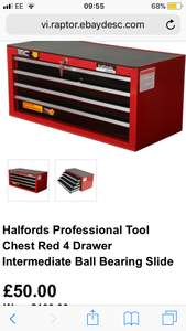 Halfords Professional Tool Chest Red 4 Drawer Intermediate Ball Bearing Slide Free postage £50 Halfords ebay store