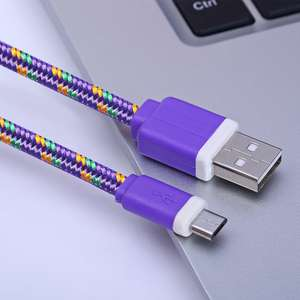 3M Micro USB Flat Braided Charger Cable - Purple - 76p delivered @ Gearbest