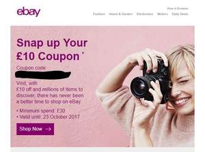 eBay £10 off (£30 min spend) - Account Specific