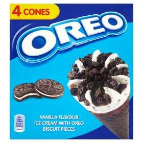 Oreo Vanilla Ice Cream Cones (4 x 100ml) was £1.95 now £1.25 (Rollback Deal) @ Asda